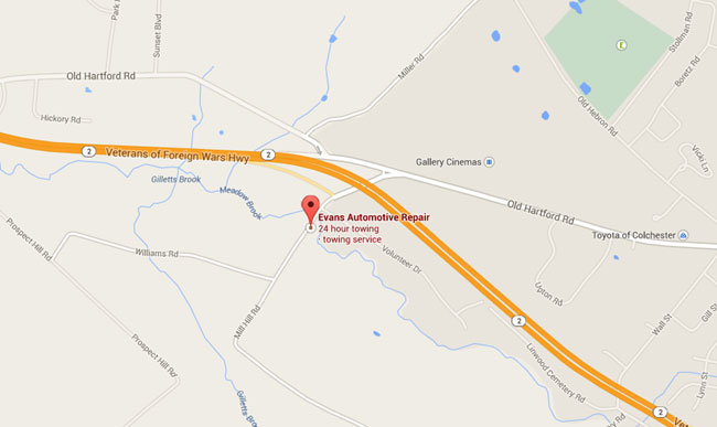 Toyota Of Colchester >> Colchester Auto Repair & 24 Hour Towing at Evans Automotive Repair - Directions